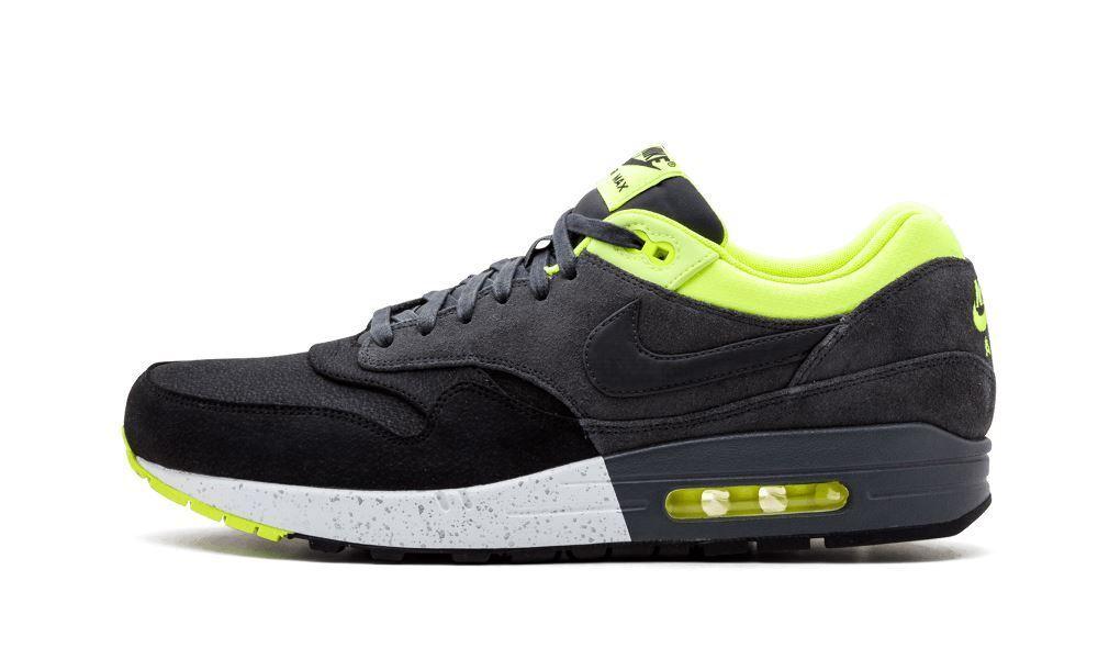 Nike Volt Mens Air Max 1 Premium Black Grey Volt Nike Suede Trainer 512033 002 8c8820
