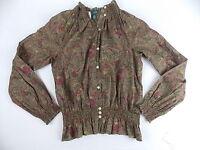 Lrl Lauren Jean Co Sheer Blouse Smocked Details Long Sleeve Olive Size M 1696