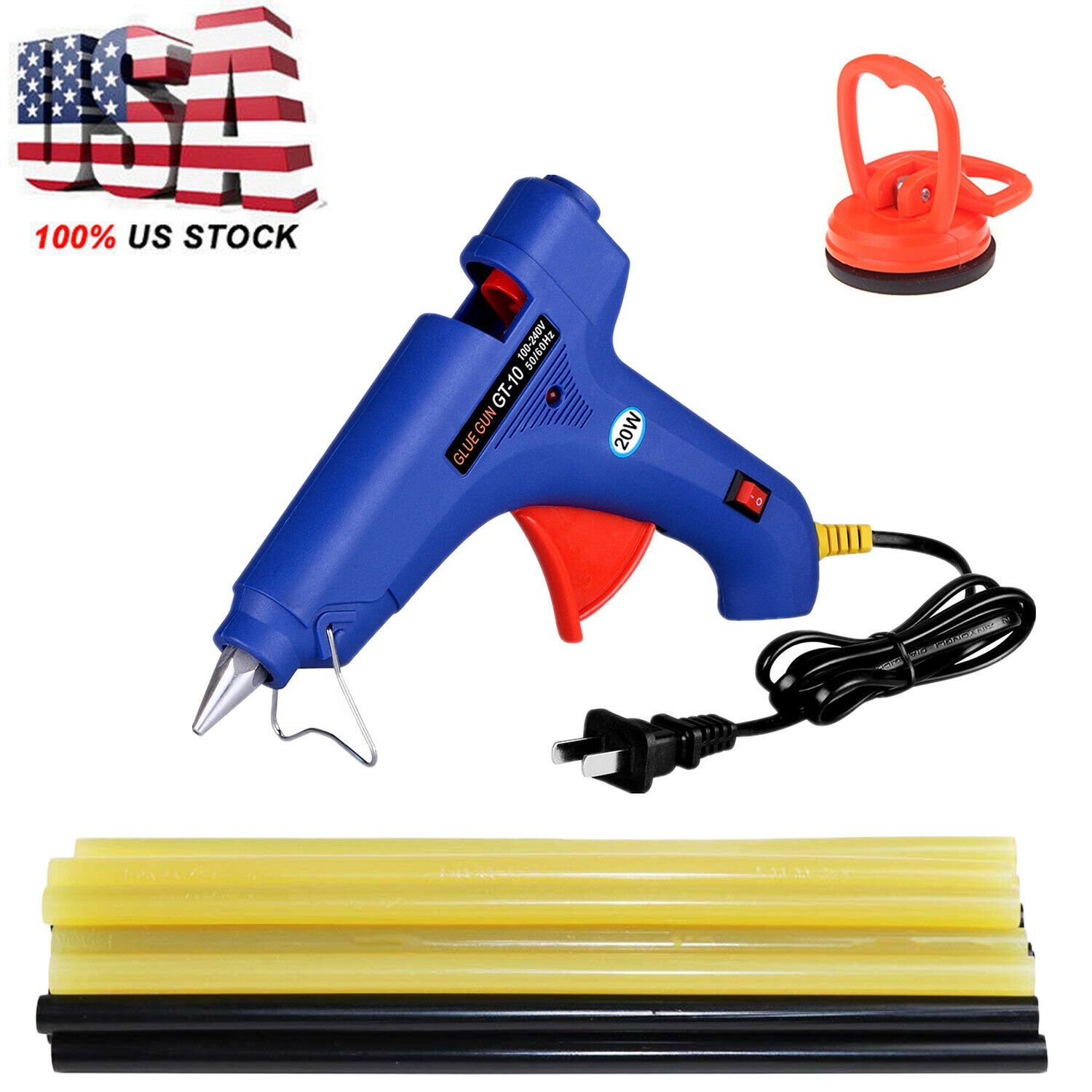 Details about Hot Melt Glue Gun with 20pc 7mm Glue Stick Industrial Mini  Gun Thermo