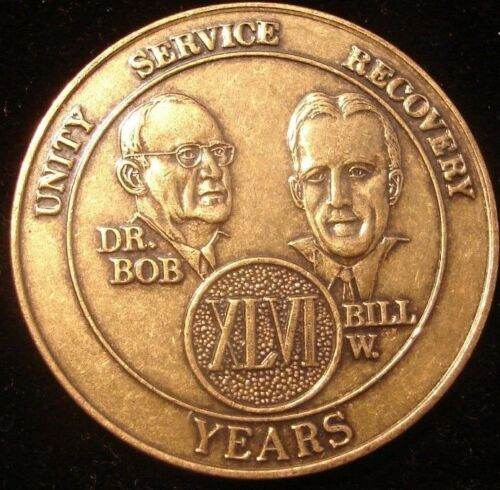 46 Year Alcoholics Anonymous AA Bronze Medallion Coin Token Chip Sobriety Sober
