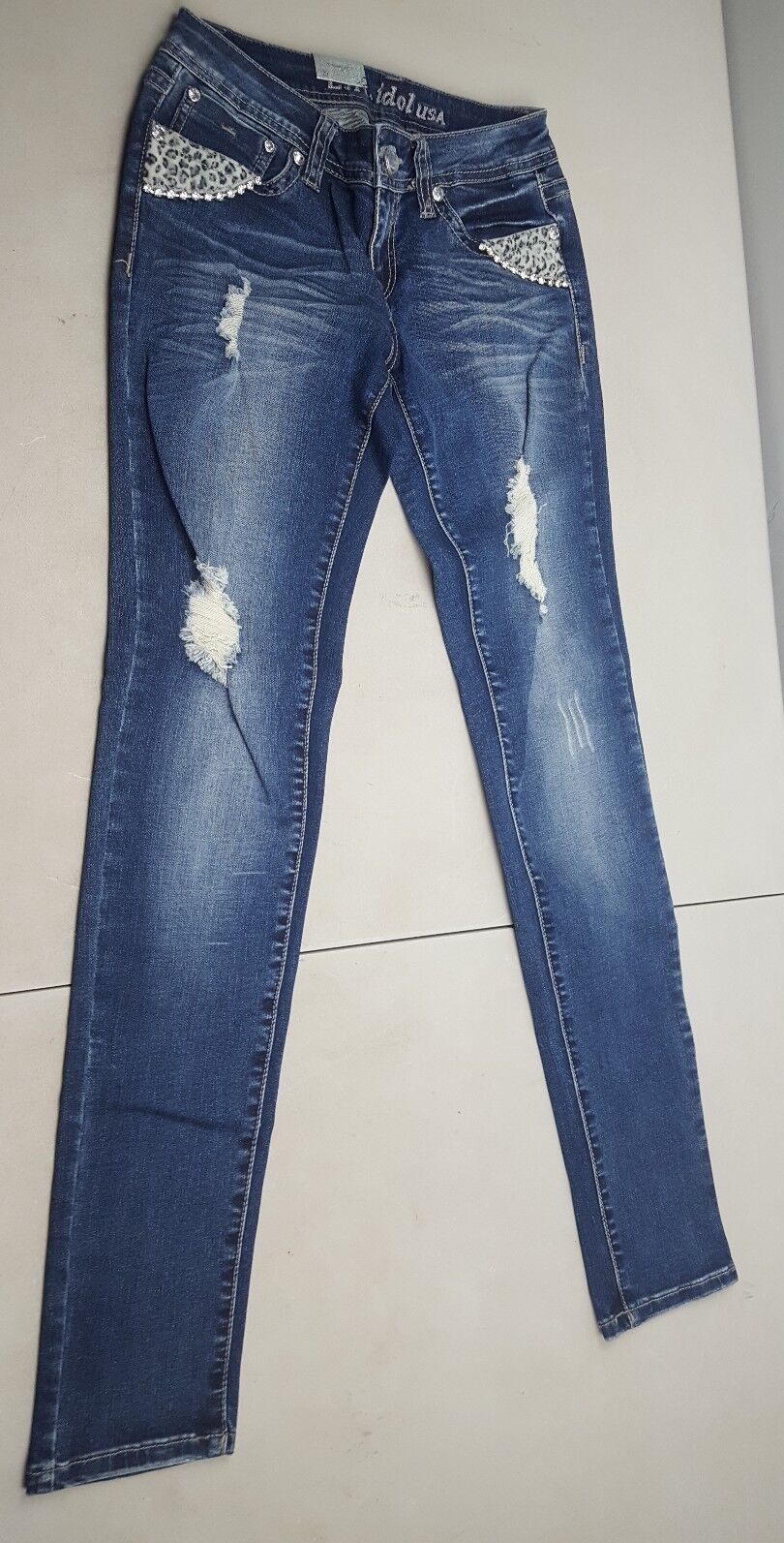 New La Idol USA Factory Distressed Fashion bluee Jeans Juniors Size 3 28w 31.5l