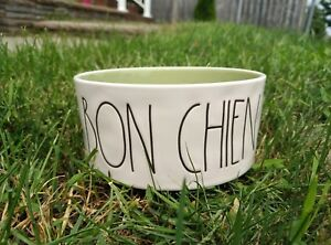Rae-Dunn-BON-CHIEN-Medium-Dog-Bowl-Green-Canada-Exclusive