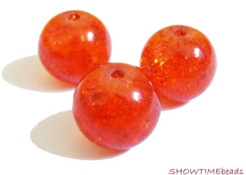 Crackle-Glasperle 8mm orange 50 Stück