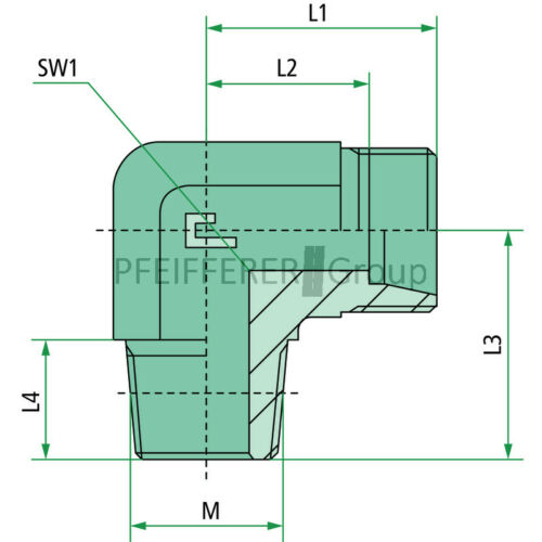 Hydraulik X-WE-Winkel Einschraubverschraubungen X-WEM 10 L 14 KEG