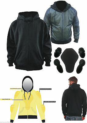 Black Size = 6X Large Thick Kevlar Motorbike Armoured Hoodie Motorcyle Summer Jacket Hoody With Removable Armour Bikers Fasion Gears