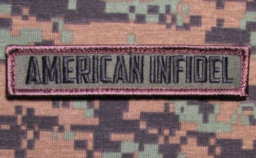 AMERICAN INFIDEL USA ARMY MORALE ROCKER TAB BADGE FOREST VELCRO® BRAND PATCH