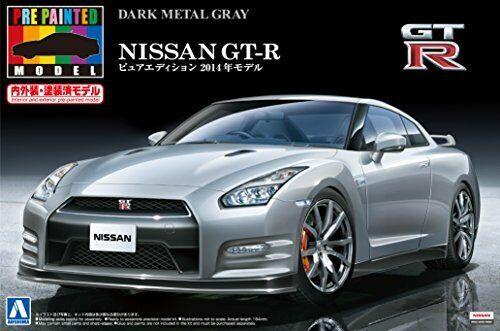 1 24 Nissan GT-R R35 2014 Dark Metal grigio Pintado plástico modelo