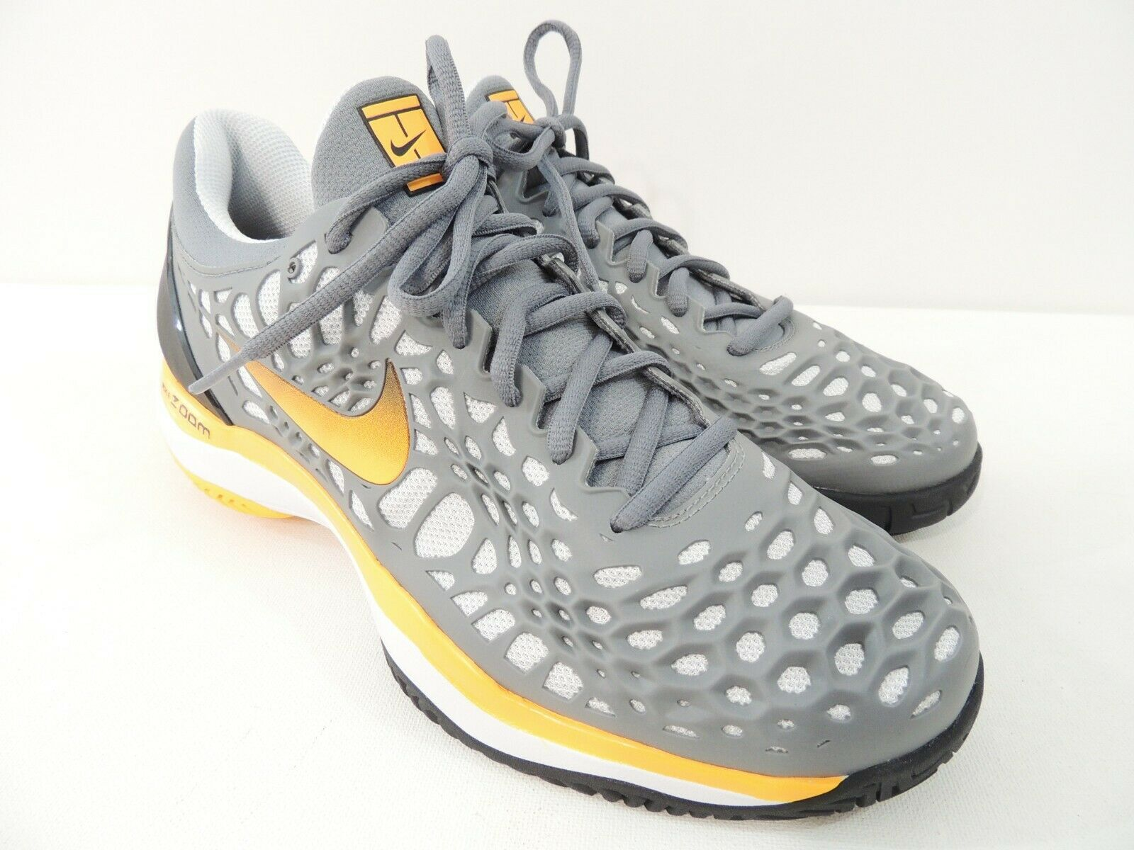 Nike Mens Air Zoom Cage Cage Cage 3 HC White Black Yellow Grey Tennis 918193-003 Size 10 53db3d