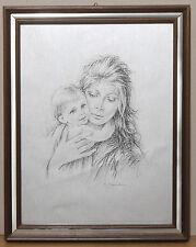 (PRL) QUADRO DONNA BAMBINO G.TARANTINO ANNI '70 LITOGRAFIA VINTAGE ART PRINT