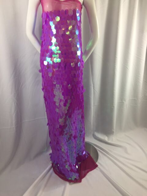 """Sold by the yard. Big Fuschia dot stretch sequin fabric 55/"""" wide"""