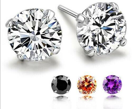 Unisex Mens and Womens 925 STERLING SILVER Stud Earring Diamond 4mm Gift