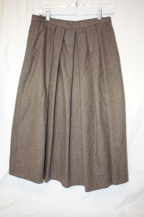 Vtg PETER MARTIN Brown Wool Blend Accordion Pleated Skirt size   US 12-B129