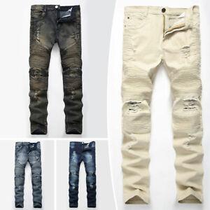 Men-039-s-Skinny-Biker-Jeans-Destroyed-Slim-Fit-Denim-Ripped-Pencil-Pants-Trousers
