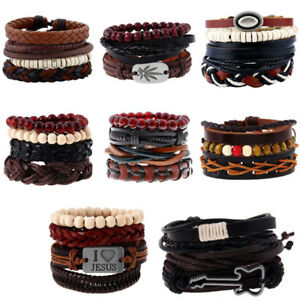 Fashion-Men-Women-Handmade-Genuine-Leather-Bracelet-Braided-Wristband-Bangle