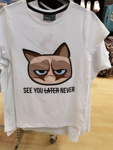 Girls Grumpy Cat T Shirt Women See You Later Never T Shirt Top T-Shirt Primark