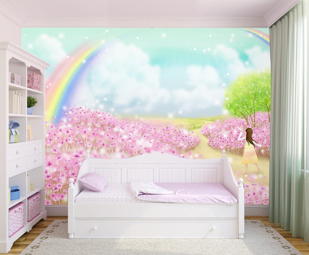 3D Rainbow Flowers 7 Wall Paper Murals Wall Print Wall Wallpaper Mural AU Summer