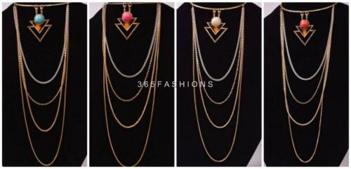 STATEMENT TIBETAN TRIANGLE MARBLE EFFECT PENDANT LONG MULTIPLE CHAIN NECKLACE