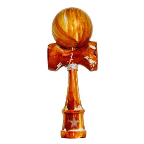 Orange White Washed Shinny Super Kendama,Super Sticky, Japanese Wooden Toy, USA