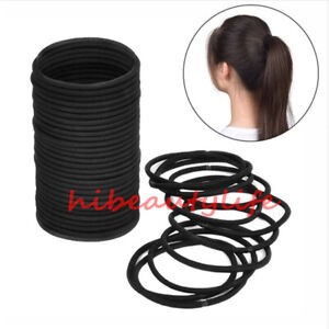 50-Black-Thick-Snag-Free-Endless-Hair-Elastics-Bobbles-Hair-Bands-hi