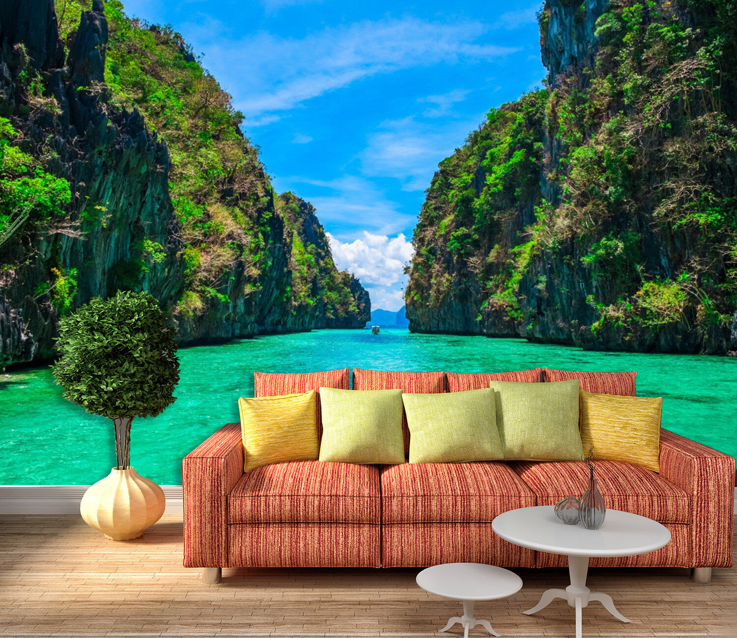 3D green lake mountain Wall Paper wall Print Decal Wall Deco Indoor wall Mural