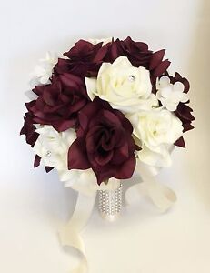 Image Is Loading Artificial Rose Hydrangea Bouquet Deep Burgundy Wine Ivory