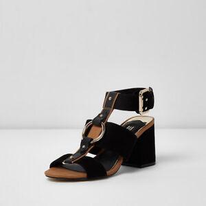 f79032fee16 Ex River Island Black Open Toe Block Heel Sandals Shoes Size 3 - 9 ...