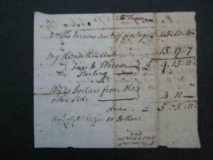 1764 Thomas Vernon Signed Receipt/Benjamin Franklin Postmaster/Revolutionary War