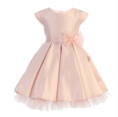 New Flower Girls Pink Satin Tulle Pleated Dress Wedding Easter Christmas 711