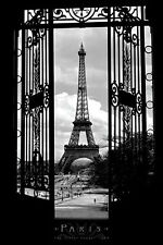 Eiffel Tower 1909 Poster! Decorative Gated Beauty Paris France Black and White