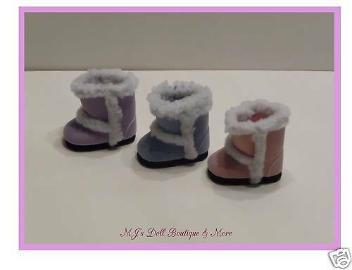 Lavender Suede Sherpa Boots fits American Girl Doll