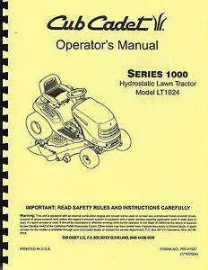 cub cadet lt1024 lawn tractor owner s manual ebay rh ebay com cub cadet 1000 owners manual cub cadet 1000 service manual