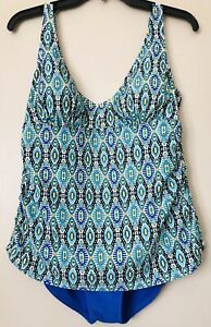 Tropical-Escape-One-Piece-Swimsuit-Swimwear-Ruched-Sides-Blue-Multi-Size-12-EUC