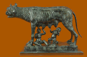 Romulus-amp-Remus-suckling-on-the-She-Wolf-Bronze-Hot-Cast-Art-Decor-Sculpture