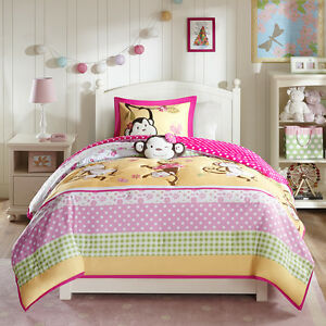 beautiful reversible modern pink green yellow girl polka dot soft comforter set ebay. Black Bedroom Furniture Sets. Home Design Ideas