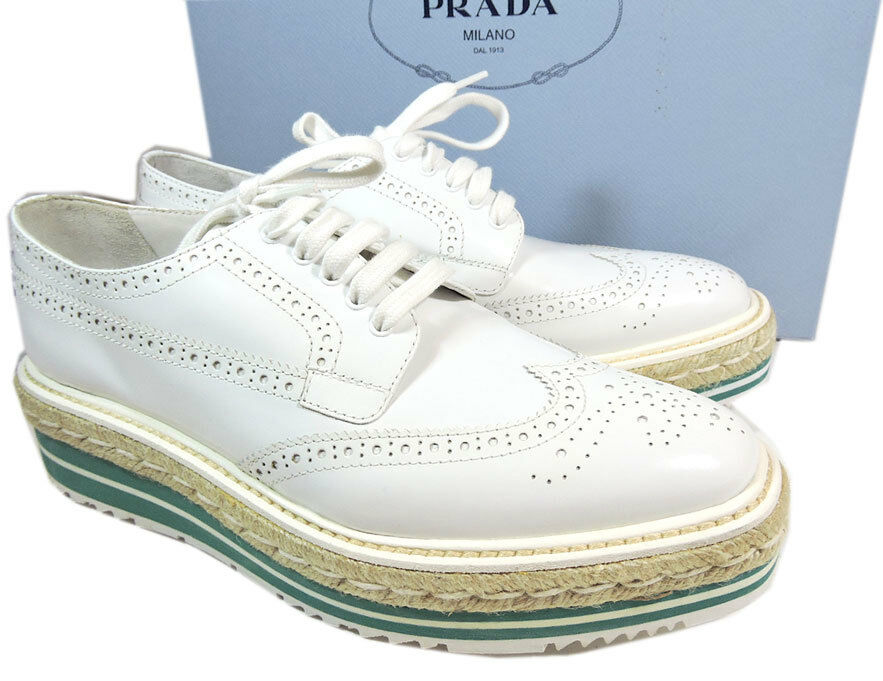Prada bianca Espadrill Lace Up Wing Tip Oxford Platform Wedge Flat Shoe 39 Loafer