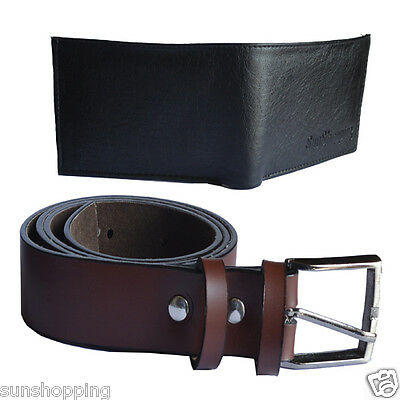 Sunshopping non leather brown men belt with bi fold black wallet combo