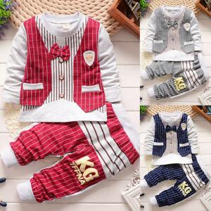 2-piezas-Infantil-Bebe-Nino-Lazo-Camiseta-Manga-Larga-Sueter-pantalones