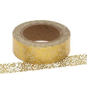 Foil-Washi-Tape-Gold-Floral-Flower-15mm-x-10m