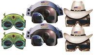 Solar Eclipse Glasses - Alien, Cowboy Astronaut, -6 Pairs - 2 Each Wacky Specs