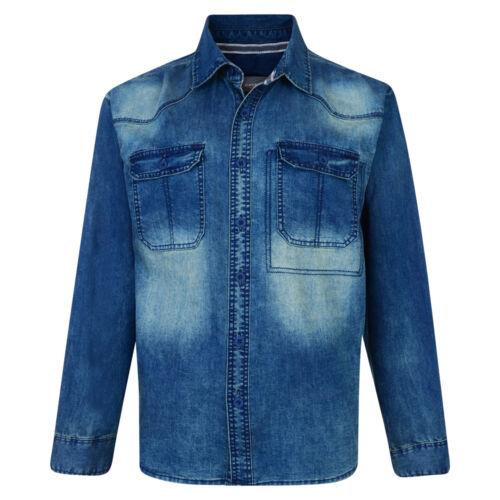 Uomo Nuovi Kam Classico Fashion Denim Camicia A Maniche Lunghe Casual grandi dimensioni 2XL-8XL