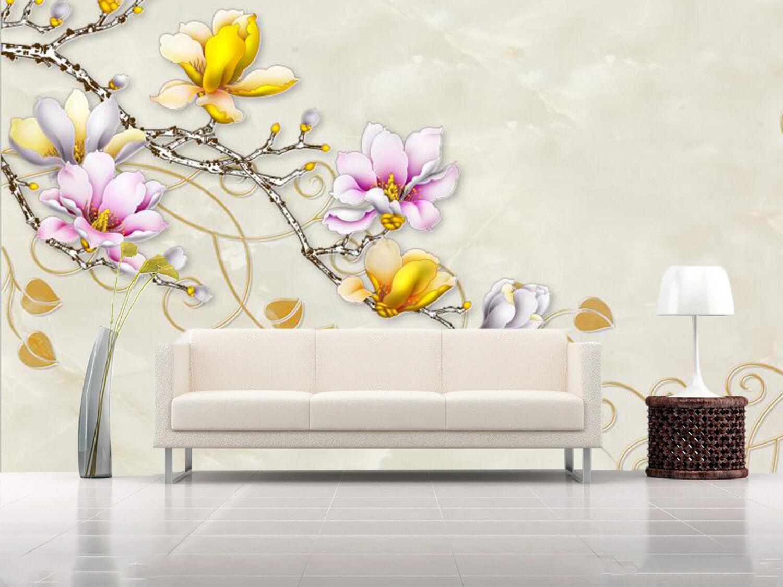 3D Gelb Flower 704 Wallpaper Mural Paper Wall Print Wallpaper Murals UK