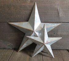 "Galvanized Primitive Rusty Metal Stars 6"" & 10"" Lot Country Tin Barn Americana"