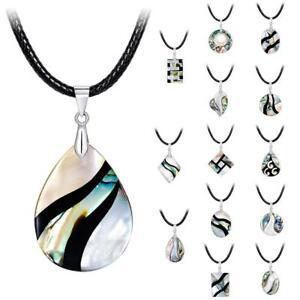 Dame-Natural-Abalone-Shell-Bead-Anhaenger-Halskette-Geschenk-Hals-Schmuck-Ge-G3G0