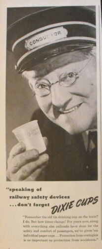 """1944 WWII Ice Cream Dixies /""""Cup/"""" Dairy Railroad-Train Conductor Memorabilia AD"""