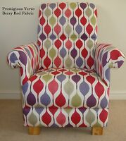 Prestigious Verve Berry Red Fabric Chair Armchair Retro Nursery Bedroom