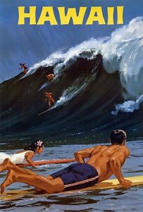 TX237-Vintage-1950-039-s-Hawaii-surfing-Travel-Poster-Re-Print-A1-A2-A3-A4