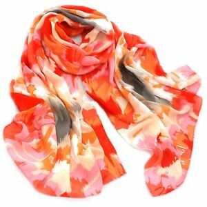 Caribbean-Sunset-Print-Oblong-Lady-Women-Shawl-Cover-Up-100-Silk-Twill-Scarf