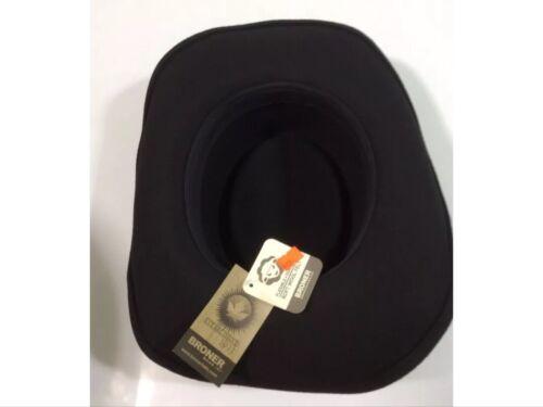 MEN/'S BRONER BLACK GAMBLER STYLE WESTERN COWBOY HAT 100/% WOOL FELT FLEX BRIM NEW