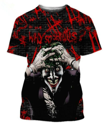 New Women//Men/'s The Dark Knight Joker 3D Print Short Sleeve Casual Graphic Tee