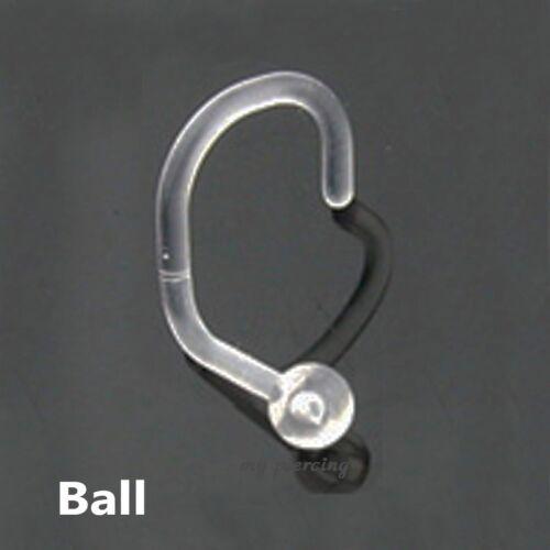 Dome Cone Spike 1pc 18G~Clear Bio-flex Nose Screw Retainer Ball